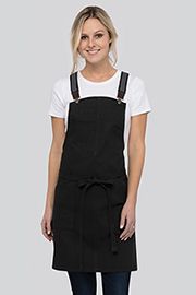 Berkeley Women's Petite Bib Apron: Jet Black Cotton
