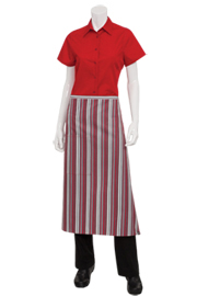 Striped Bistro Apron: Red, Gray, Black